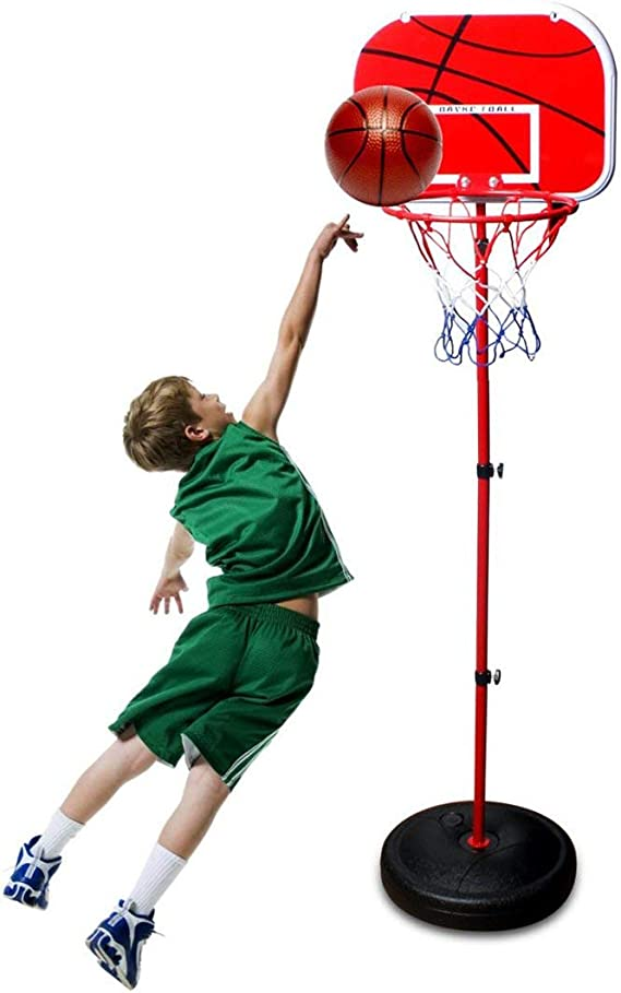 88cm//138cm//190cm TONZE Kids Basketball Hoop and Stand Height Adjustable,Net and Ball Indoor Outdoor Sport Play Set Toys for 3 4 5 Year Old Boys Girls,