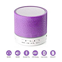 Hipipooo Portable Wireless Bluetooth Mini Speaker with Multicolored LED Light/3.5mm AUX Input and Mic for Bluetooth Equipment and PC Cellphone Tablets Desktop Laptop Etc (Purple)