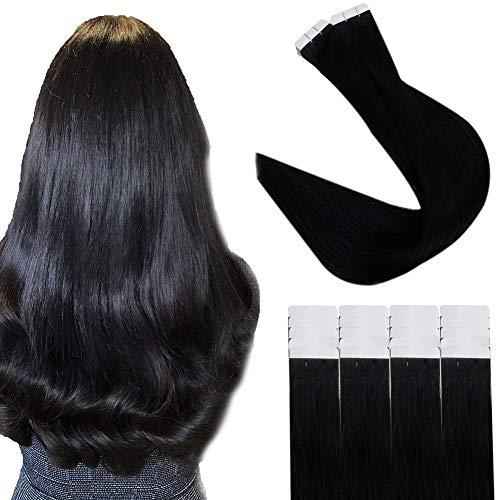 Easyouth Tape in Hair Extensions 10zoll Farbe 1 Pechschwarz 30g Echthaar Tape on Extensions Remy Extensions Human Hair
