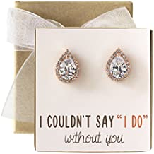 Cubic Zirconia Bridesmaid Stud Earrings, Bridal Party Gift