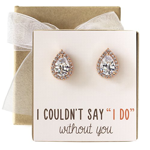 Cubic Zirconia Bridesmaid Stud Earrings, Bridal Party Gift (Rose Gold, Post Earrings)]()