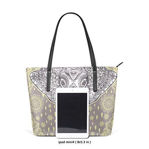 COOSUN Boho-Vektor-ethnischer Elefant-nahtlose Muster-PU-Leder-Schulter-Beutel-Geldbeutel und Handtaschen-Einkaufstasche für Frauen