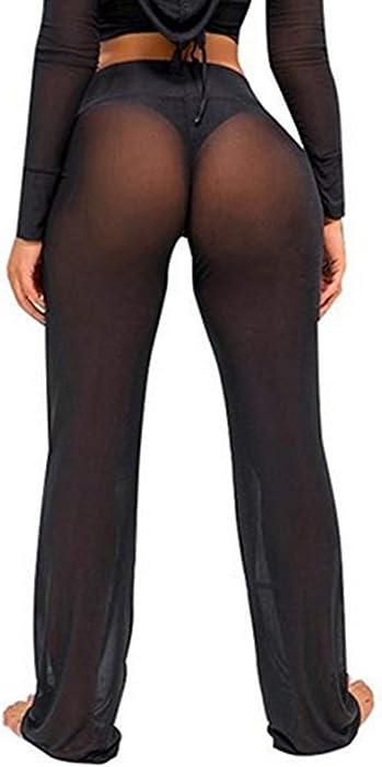 0e97c3faa4 Women s Perspective Sheer Mesh Long Pants Swimsuit Bikini Bottom Cover up.  FULA-bao Women s Perspective Sheer Mesh Long Pants Swimsuit Bikini Bottom  Cover ...