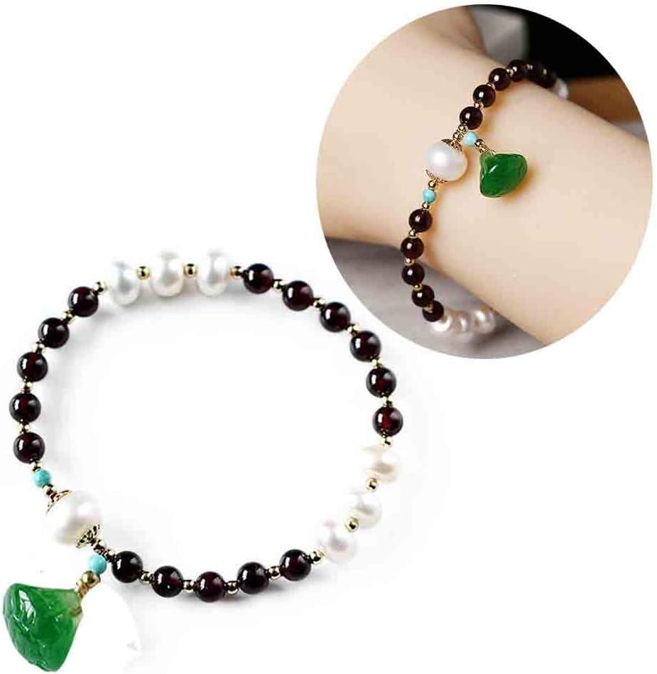 J.Memi's Natural Granate Perlas Pulsera Piedras Preciosas con Naturales Jade Colgante Brazalete Clásicas Joyas Cumpleaños Boda Aniversario Regalo Accesorios