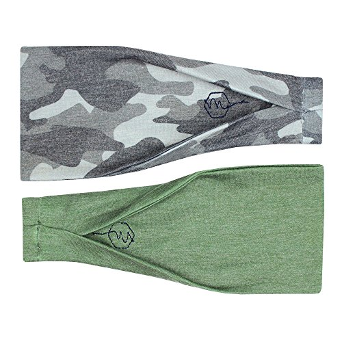 Maven Thread Women's Headband Yoga Running Exercise Sports Workout Athletic Gym Wide Sweat Wicking Stretchy No Slip 2 Pack Set Camo and Olive Green Hustle