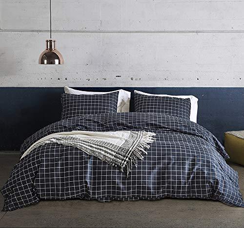 Fire Kirin Grid Bedding Queen Size Navy Blue Plaid Pattern Lightwhight Microfiber Duvet Cover Set Zipper Closure, 1 Checkered Duvet Cover 2 Pillowcases