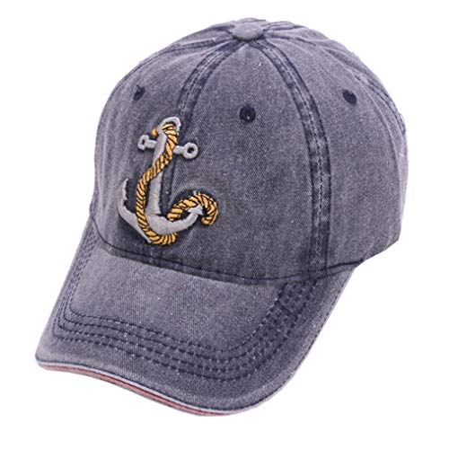 Unisex Anchor Embroidery Denim Hat Vintage Washed Baseball Cap Captain (Light Blue) ()