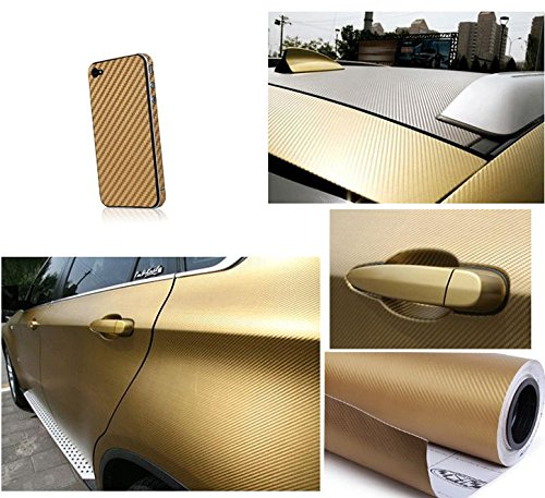 F & B LED LIGHTS Golden 3D Carbon Fiber Film Twill Weave Vinyl Sheet Roll Wrap (120'' X 60'', Golden) by F & B LED LIGHTS (Image #1)