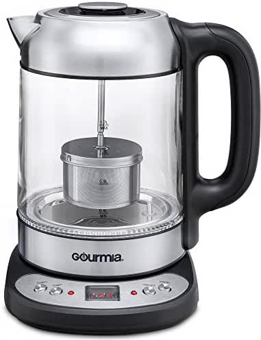 Gourmia GDK290 Electric Glass Tea Kettle With Built In Precise Steeping Tea Infuser, Programmable Time & Temperature Pedestal Control Panel, 2 Quarts