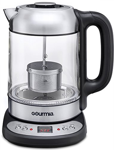 Gourmia GDK290 Electric Glass Tea Kettle With Built In Precise Steeping Tea Infuser, Programmable Temperature Pedestal Control Panel, 2 Quarts