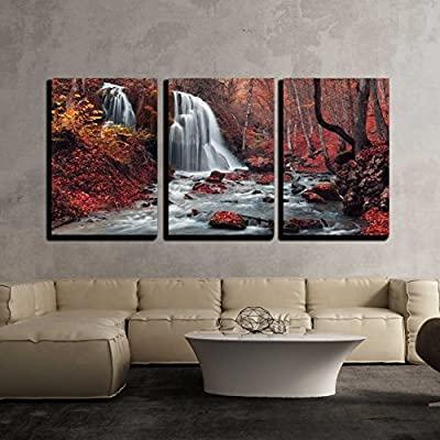 3 Piece Canvas Wall Art - Beautiful Waterfall in Autumn Forest. Silver Stream Waterfall. Autumn Forest in Crimea - Modern Home Art Stretched and Framed Ready to Hang - 16
