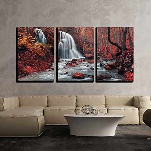 Beautiful Waterfall in Autumn Forest Silver Stream Waterfall Autumn Forest in Crimea x3 Panels