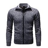 Sunhusing Men's Zipper Stitching Stylish Lapel Solid Color Knit Cardigan Coat Slim Long Sleeve Sweater Jacket Dark Gray