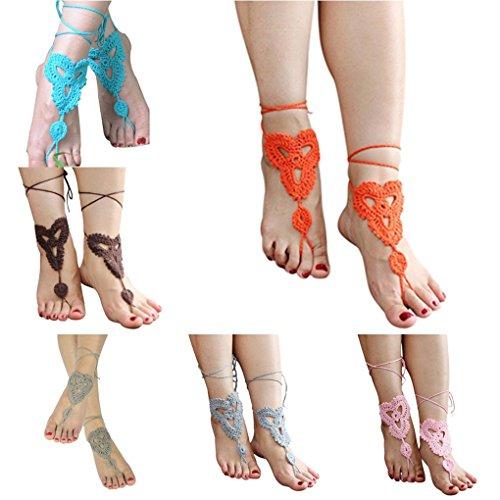 1 Kvinner Armbånd Hekle Elegant Dame Yoga Ankelen Jente Mote Foten Smykker Sandal Ankelkjede Barfot Bomull Brun Par Minzhi 1tOxqfw1d