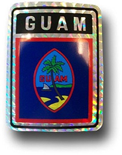 ALBATROS (6 Pack) Guam Country Flag Reflective Decal Bumper Sticker for Home and Parades, Official Party, All Weather Indoors ()