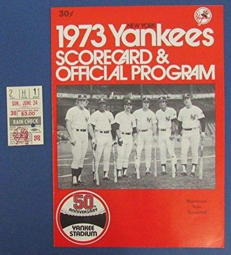 1973 New York Yankees Vs Tigers Official Program Scorecard w/Ticket Stub 125601