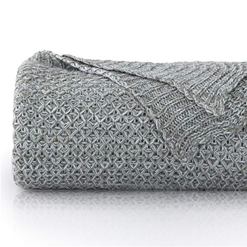 (Bedsure Grey Knit Throw Blanket for Sofa and Couch-50 x 60 Inch Cozy Soft Bed Blanket-Lightweight Cable Knitted Throw)