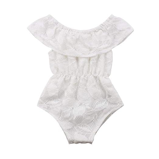 2e32a16643a1 Amazon.com  Baby Girl Clothes White Lace Romper Bodysuit Jumpsuit ...