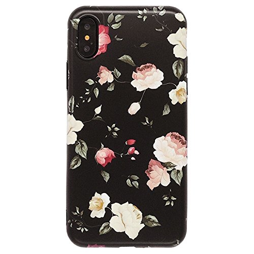 iPhone X Cute Case Girls, Rose Flower Pattern Design, Slim Fit Soft TPU Full-Body Protective Cover Case iPhone Xs/X 5.8 (Rose)