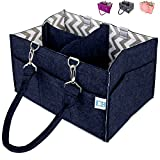 Colorful Baby Diaper Caddy – Nursery Storage Caddy and Car Organizer Bin – Easily Holds Diapers, Wipes, Toys | Baby Shower Gift for Newborn and Moms – Portable Tote Travel Diaper Bag (Navy Blue)