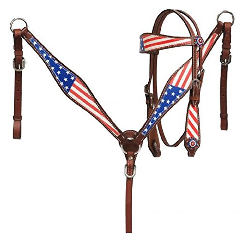(Showman PONY Red White Blue American Flag Overlay Stars Crystal Conchos Leather Headstall Reins Breast Collar)