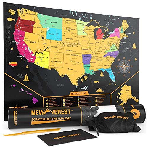 Newverest Scratch Off Map of The United States: Detailed Travel Art Poster, Fits 17 x 24 inches Frame - Comes with Scratch Tool, 20 Push Pins, 4 Stickers, Cleaning Cloth, Carry Bag + Gift Tube