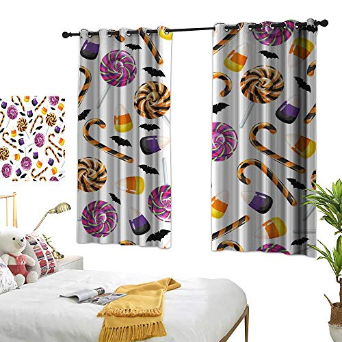 wwwhsl Superior Room Bedroom Curtains Halloween Sweets Seamless Pattern Colorful Life W84.2 xL72 ()