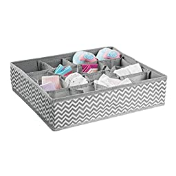 mDesign Chevron Fabric Baby Nursery Closet Organizers for Clothing, Diapers, Wipes, Lotion, Medicine - Set of 4, Gray/Cream
