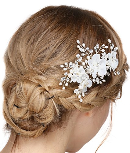 BABEYOND Crystal Bridal Hair Side Clip Rhinestone Pearl Wedding Hair Accessories for Bride Bridesmaids Bridal Headpiece for Wedding (Style1)