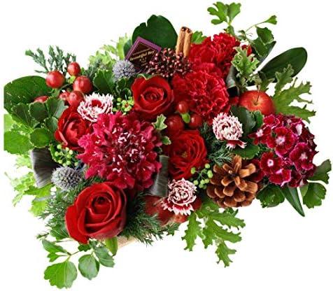 フラワー ギフト 結婚 アレンジメント レッド 赤系 結婚祝いに 季節のお花を使った生花 フラワーケーキアレンジメント Happy wedding ピック付