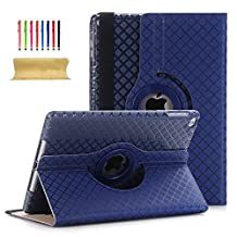 iPad Air 2 9.7 Inch Case, UUcovers 360 Degree Rotating Vertical and Horizontal Stand Auto Wake/Sleep Smart Case Hard PC Shell Synthetic Leather Cover with Stylus Card Holder Strap for iPad Air 2/iPad 6 (A1566 A1567) Darkblue