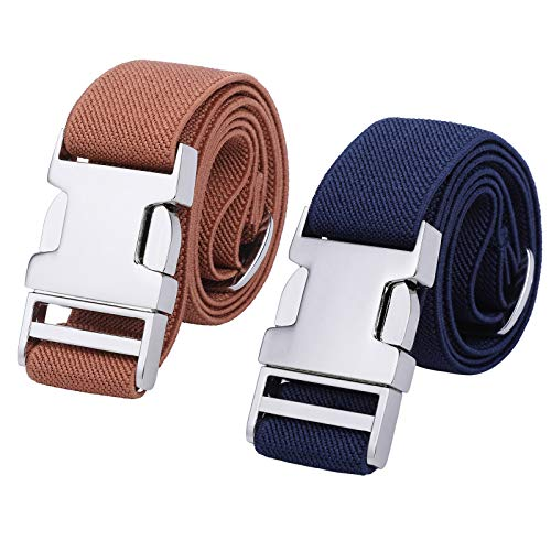 Boys Adjustable Stretch Belt for Kids - 2PCS Zinc Alloy Childrens with Easy Clasp Belt for Toddlers Boys Girls(Navy Blue/Brown)