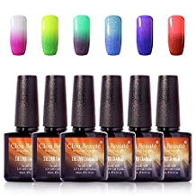 Clou Beaute Soak Off UV LED Thermal Temperature Color Changing Gel Nail Polish Set Of 6 Glitter Change