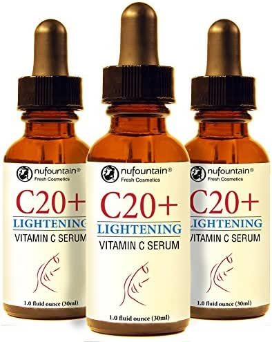 NuFountain C20+Lightening 3-Pack. 20% LAA, B3 and Alpha Arbu!tin Serum. 3 1-Oz. Bottles. Made Fresh When Ordered with