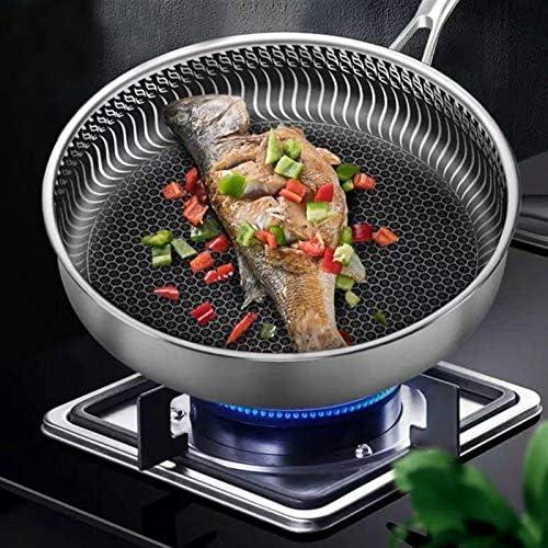 Pano-acier inoxydable 304 poêle non revêtue antiadhésifs Pan clouté de fumée de fumée de fumée de friture de friture de friture avec cuisinière à induction générale