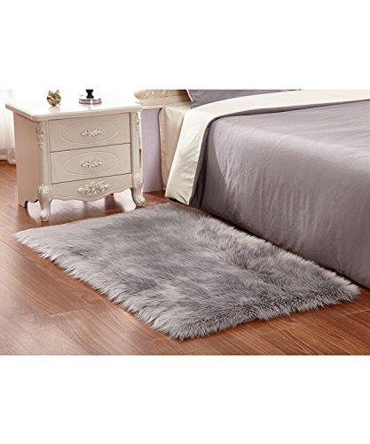 Faux Fur Sheepskin Area Rug, Baby Bedroom Rugs Fluffy Rug Home Decorative Shaggy Rug Carpet Grey,4x6ft