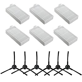 Accessories Replacement Parts Fit for ILIFE V3s V3s pro V5 V5s V5s pro Robot Vacuum Cleaner – Filters and Side Brushes(Left+Right),Pack of 12