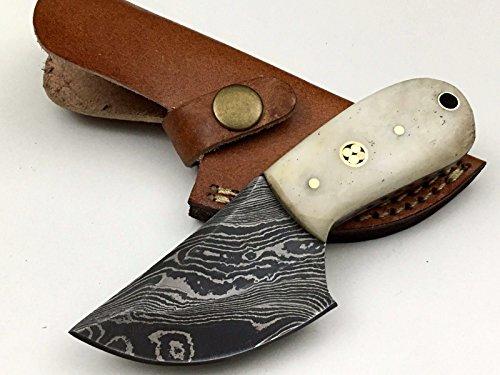 Ash ds33b damascus steel custom handmade hunting skinner knife 6