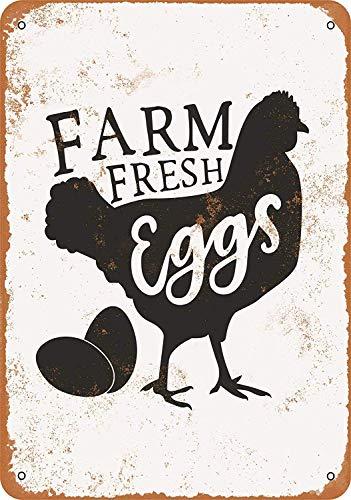農場の新鮮な卵 金属板ブリキ看板警告サイン注意サイン表示パネル情報サイン金属安全サイン