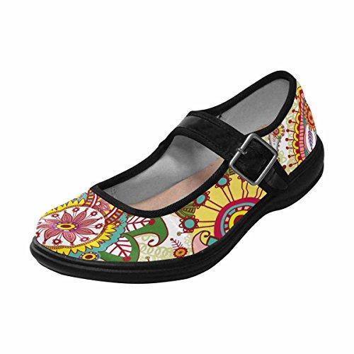 Interestprint Mujeres Comfort Mary Jane Flats Zapatos Casual Para Caminar Multi 1
