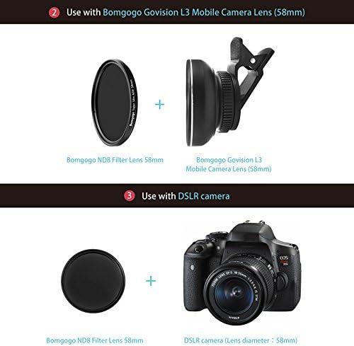 Bomgogo 58mm ND8 Filter Lens//for DSLR or Govision L3 Wide-Angle Lens use