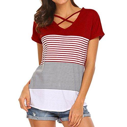 ... MCYs Damen Streifen Splice Kreuz Bandage T-Shirt Kurzarm Casual Tops Bluse  Oberteil Loose T ... e254ed12be