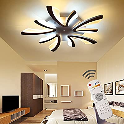 ASO HOME, Dimmable 60W LED Acrylic Panel Modern Style Flush Mount Light Ceiling, Light Pendant, Ceiling Lights, White, Integrated With Remote Control