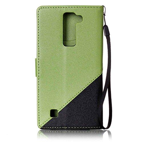 Sunroyal ® para LG K7 Funda Carcasa Cuero Tapa Leather Ultra Slim Case Cover PU Piel LG K7/LG M1/LG Tribute 5 Wallet Style Flip Cierre Magnético y Función de Soporte Billetera con Tapa para Tarjetas C A-06