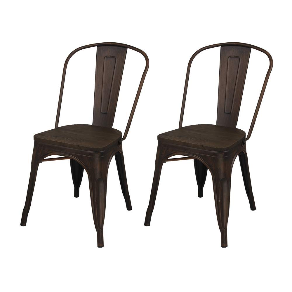 GIA High Back Armless Chair with Wooden Seat, Antique Black/Dark Wood, 2-Pack