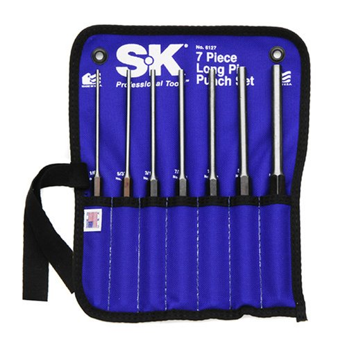 SK 6127 Long Pin Punch Set 7 Piece by SK Hand Tool