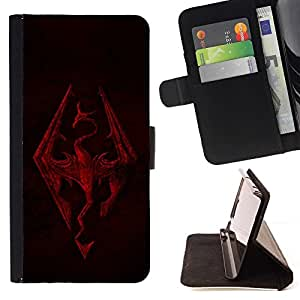 - Skyrim Dragon/ Personalized Design Custom Style PU Leather Case Wallet Flip Stand - Cao - For HUAWEI P8 Lite