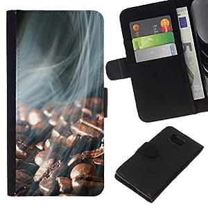 All Phone Most Case / Oferta Especial Cáscara Funda de cuero Monedero Cubierta de proteccion Caso / Wallet Case for Samsung ALPHA G850 // Coffee Beans Smoke
