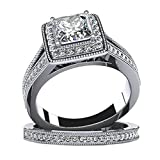 925 Sterling Silver Women Eternity Engagement Wedding Band Ring Cubic Zirconia Square Size 10