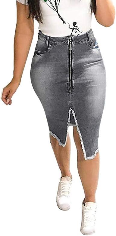 AOGOTO Mini Falda de Jean para Mujer, a la Moda, con Cintura Alta ...